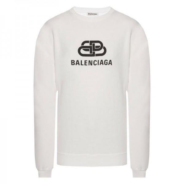 Balenciaga Logo Sweatshirt Erkek Beyaz