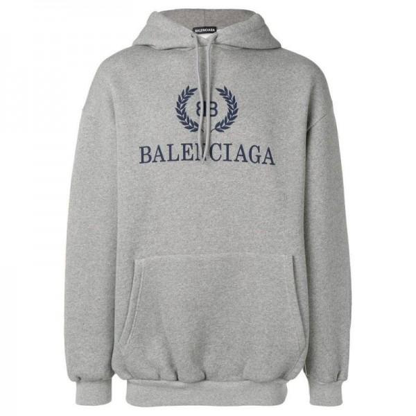 Balenciaga Logo Sweatshirt Erkek Gri