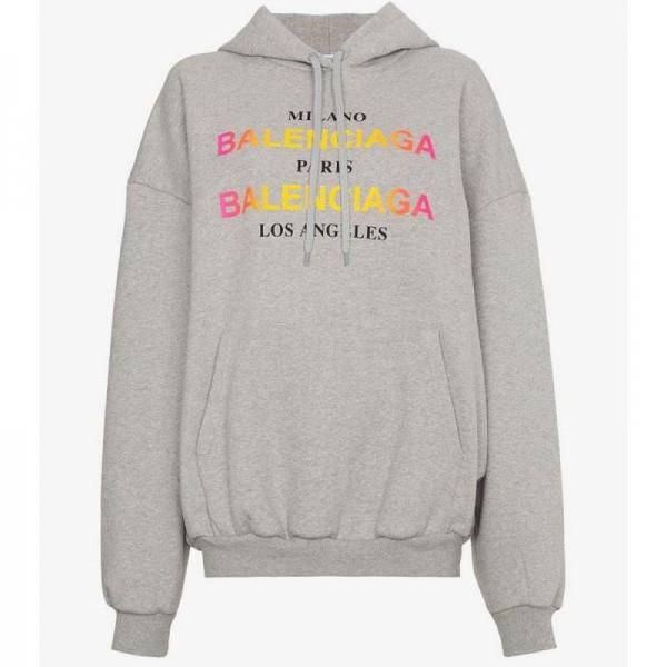 Balenciaga Logo Sweatshirt Gri Kadın