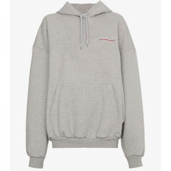 Balenciaga Logo Sweatshirt Kadın Gri