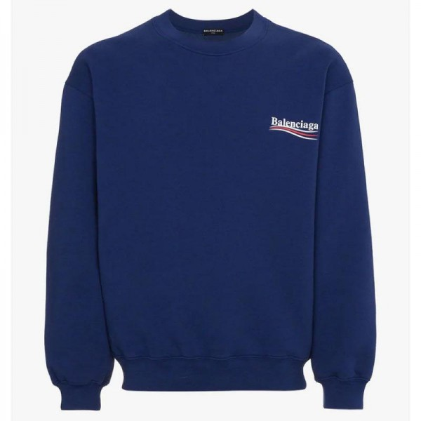 Balenciaga Logo Sweatshirt Mavi Erkek
