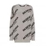 Balenciaga Jacquard Sweatshirt Gri Kadın