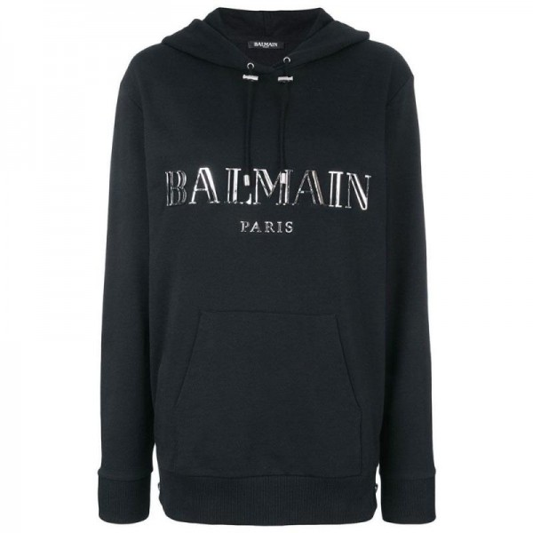 Balmain Logo Sweatshirt Kadın Siyah