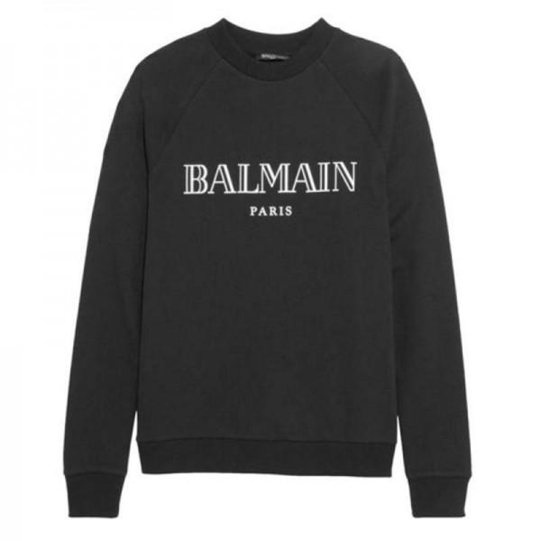 Balmain Logo Sweatshirt Siyah Erkek
