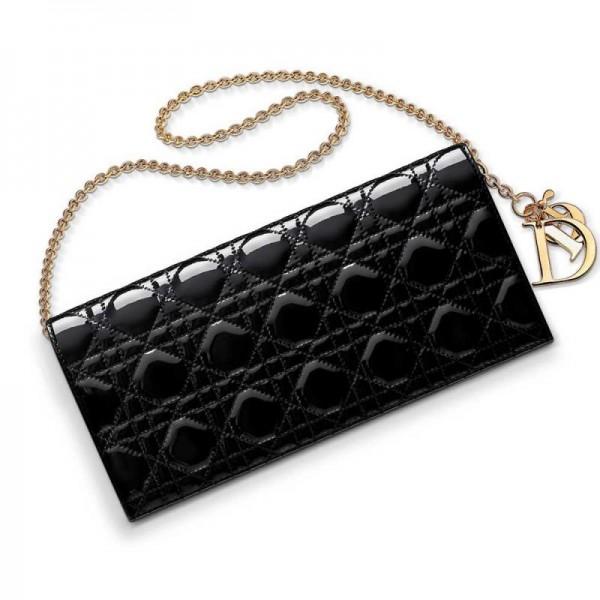 Dior Evening Pouch Çanta Parlak Siyah   Altın Kadın