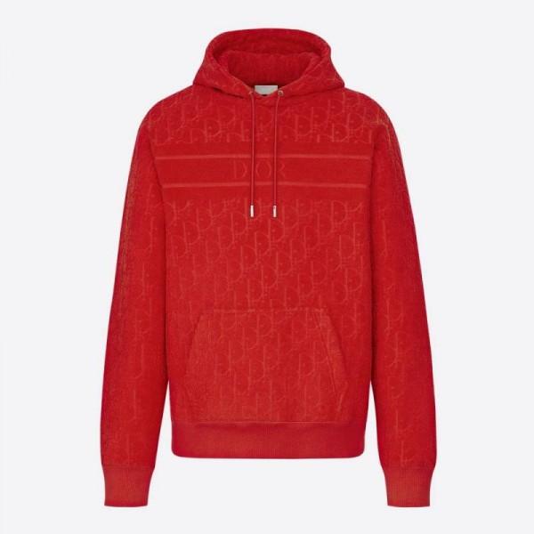 Dior Jacquard Sweatshirt Erkek Kırmızı