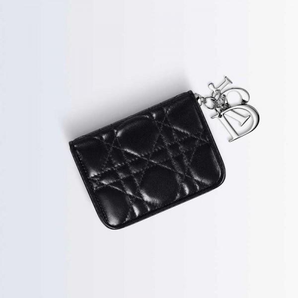 Dior Lady Dior Mini Cüzdan Parlak Siyah Kadın