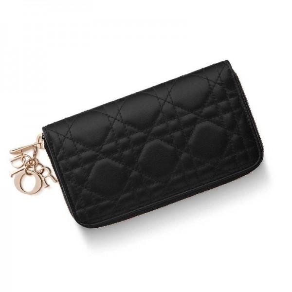 Dior Lady Dior Voyageur Medium Cüzdan Siyah Kadın
