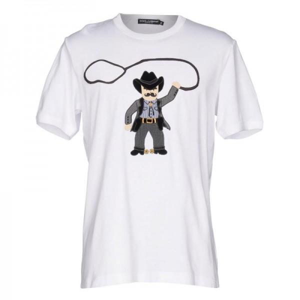 Dolce Gabbana Cowboy Tişört Beyaz Erkek