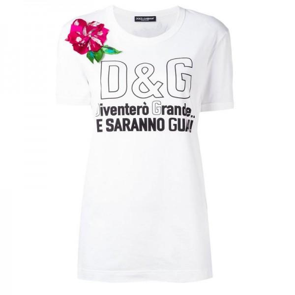 Dolce Gabbana Flower Tişört Beyaz Kadın
