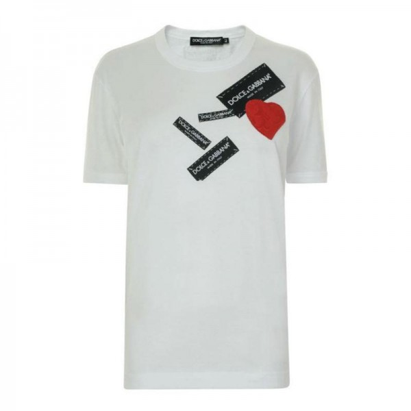 Dolce Gabbana Heart Tişört Beyaz Erkek