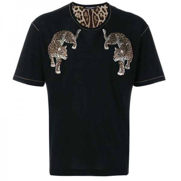 Dolce Gabbana Leopard Tişört Siyah Erkek