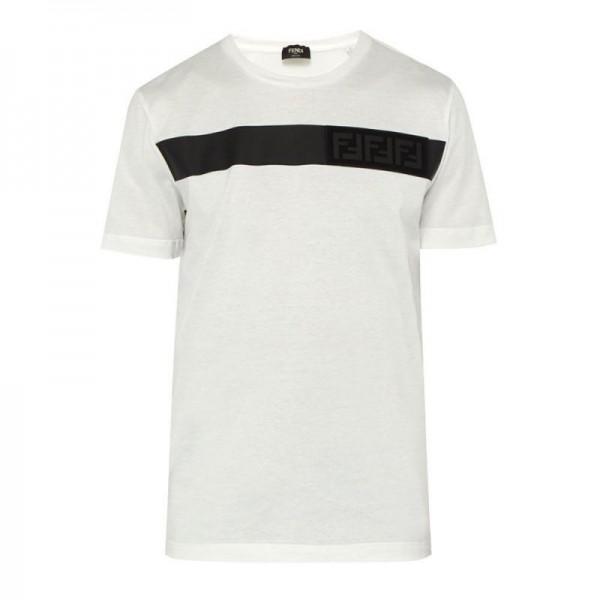 Fendi Applique Tişört Erkek Beyaz