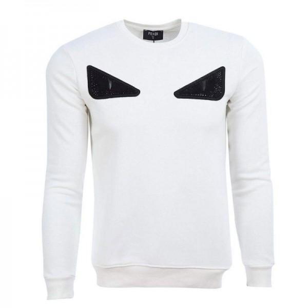 Fendi Bag Bugs Sweatshirt Erkek Beyaz