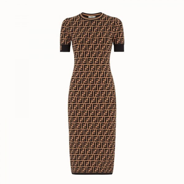 Fendi FF Elbise Krem Kadın