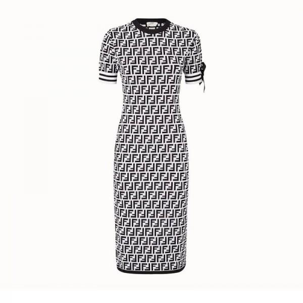 Fendi FF Elbise Siyah Kadın