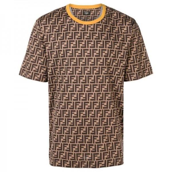 Fendi FF Tişört Erkek Kahverengi
