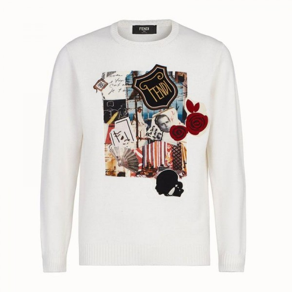 Fendi Jumper Sweatshirt Erkek Beyaz