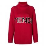 Fendi Logo Sweatshirt Kırmızı Kadın