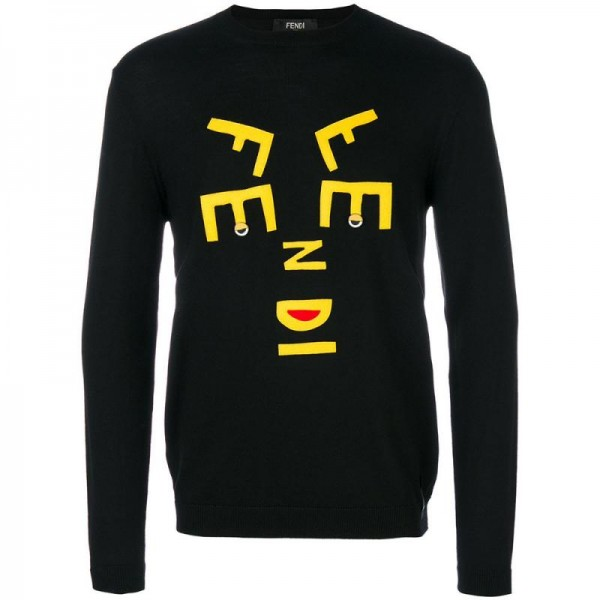 Fendi Logo Sweatshirt Siyah Erkek