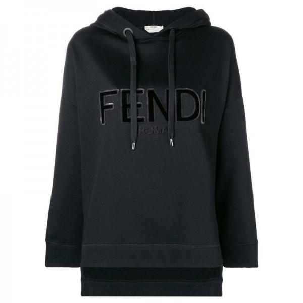 Fendi Logo Sweatshirt Siyah Kadın