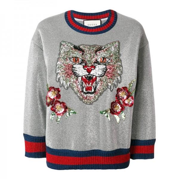 Gucci Angry Cat Sweatshirt Gri Kadın