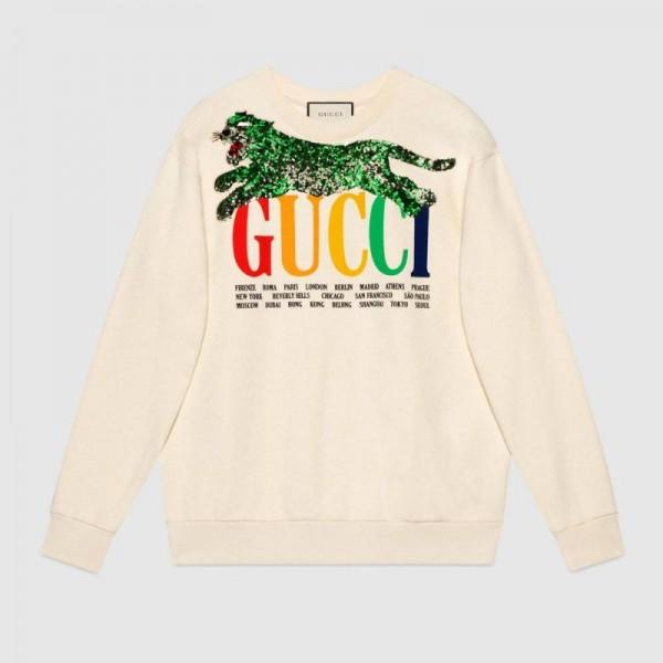 Gucci Cities Sweatshirt Beyaz Kadın