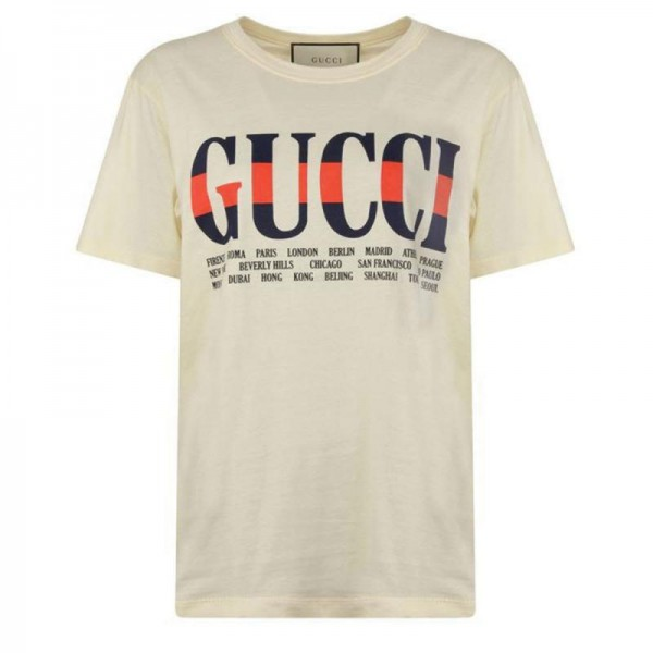 Gucci Cities Tişört Beyaz Erkek