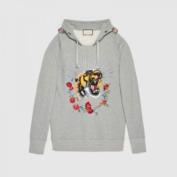Gucci Embroidered Sweatshirt Gri Kadın
