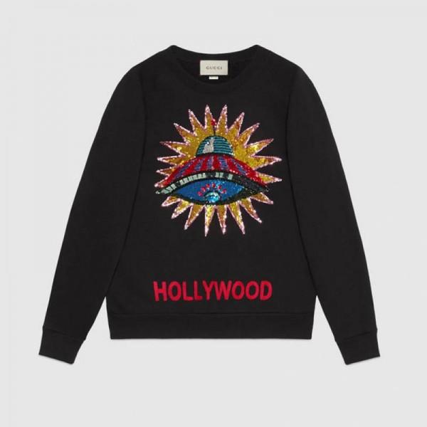 Gucci Embroidered Sweatshirt Siyah Kadın