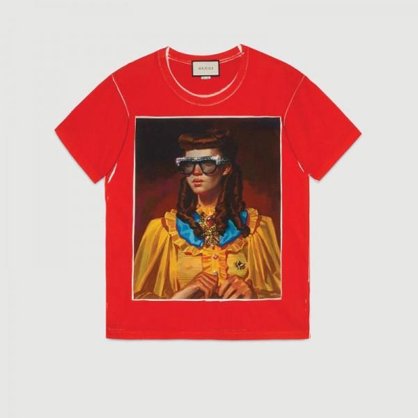 Gucci Ignasi Monreal Tişört Kırmızı Kadın