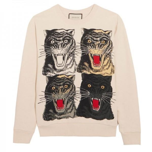Gucci Jersey Sweatshirt Krem Kadın