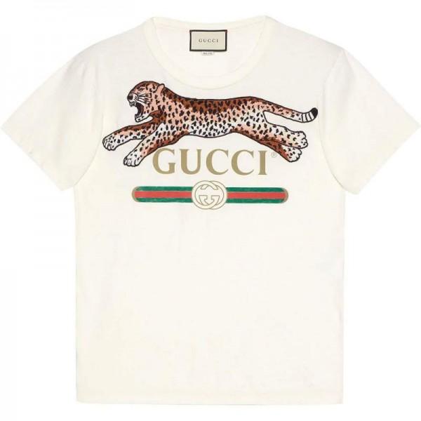 Gucci Leopard Tişört Erkek Beyaz
