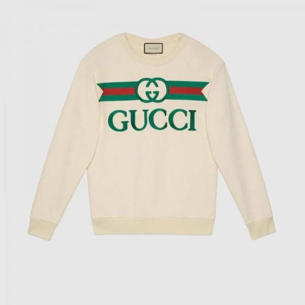 Gucci Logo Sweatshirt Kadın Beyaz
