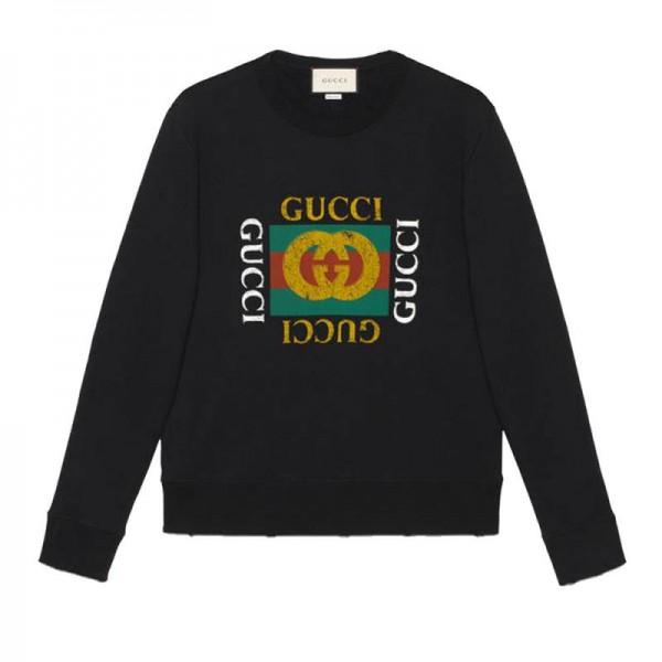 Gucci Logo Sweatshirt Siyah Erkek