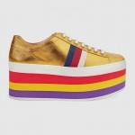 Gucci Metallic Platform Ayakkabı Sarı Kadın