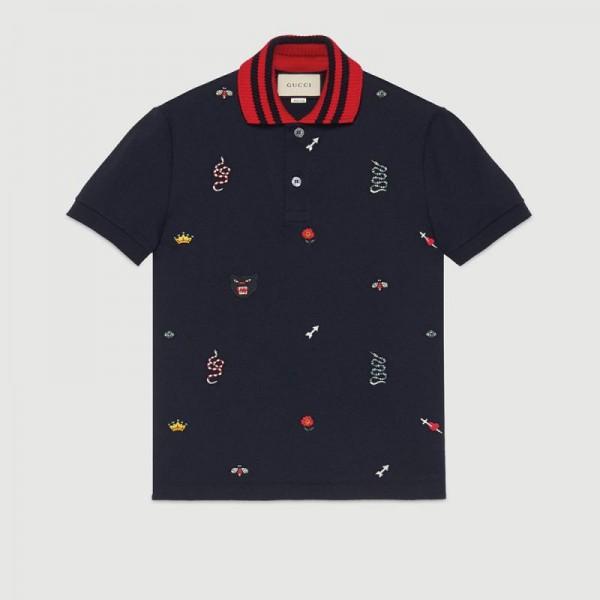 Gucci Polo Tişört Lacivert Erkek