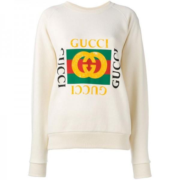 Gucci Print Sweatshirt Beyaz Kadın