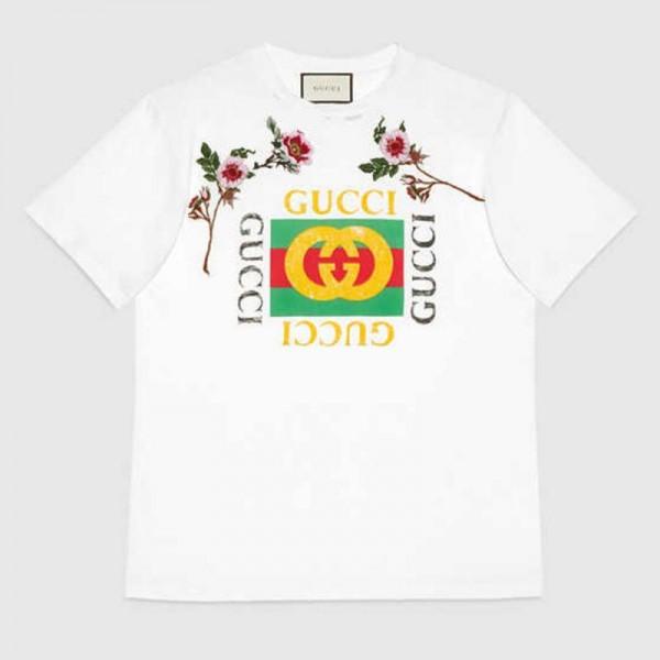 Gucci Print Tişört Beyaz Kadın