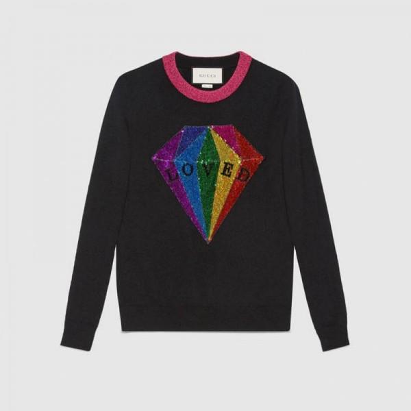 Gucci Sequin Sweatshirt Gri Kadın