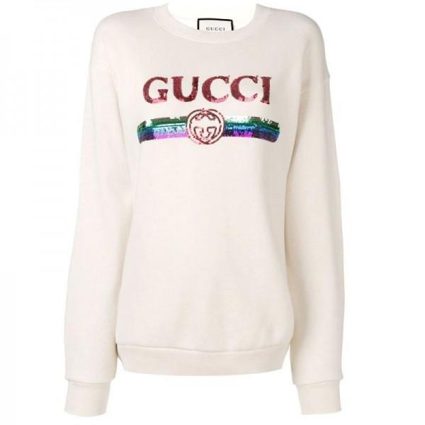 Gucci Sequin Sweatshirt Kadın Beyaz