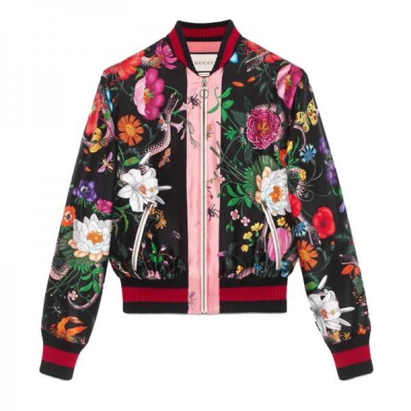 Gucci Snake Bomber Ceket Floral Kadın