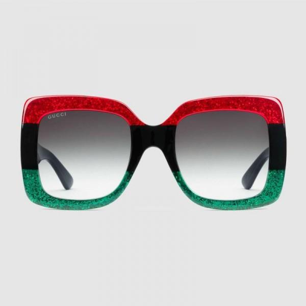 Gucci Square Gözlük Kadın Kırmızı