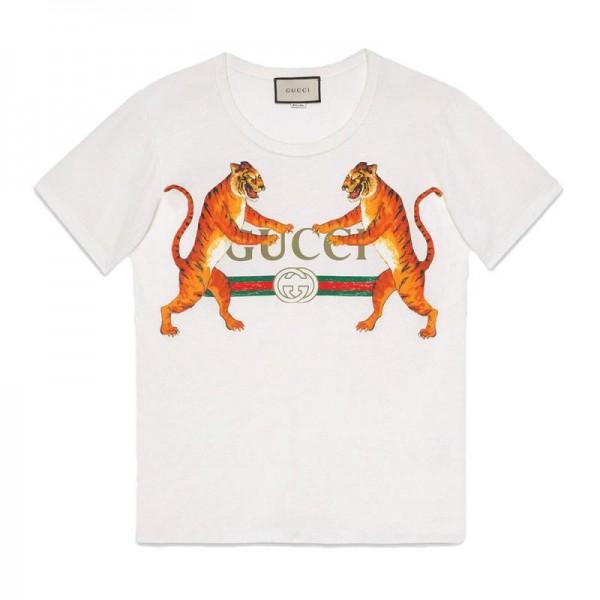 Gucci Tigers Tişört Beyaz Kadın
