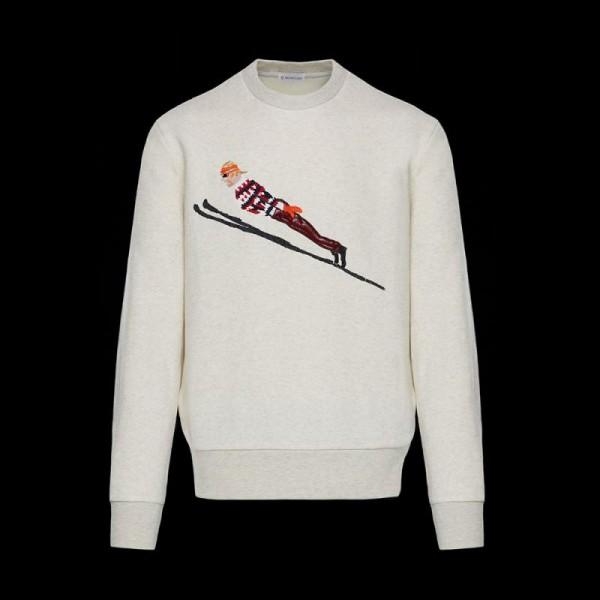 Moncler Fabric Sweatshirt Beyaz Erkek
