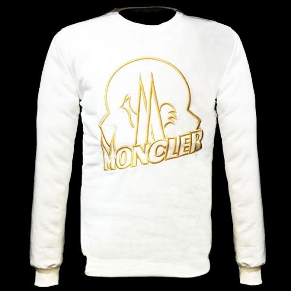Moncler Logo Sweatshirt Beyaz Erkek