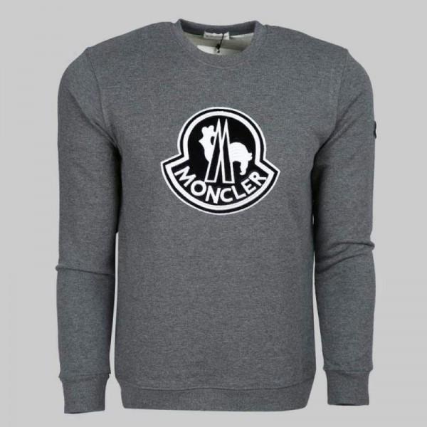 Moncler Logo Sweatshirt Erkek Gri