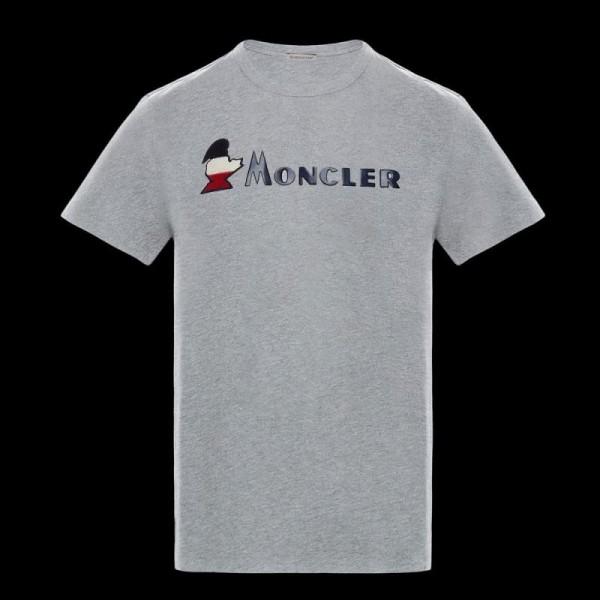 Moncler Logo Tişört Erkek Gri