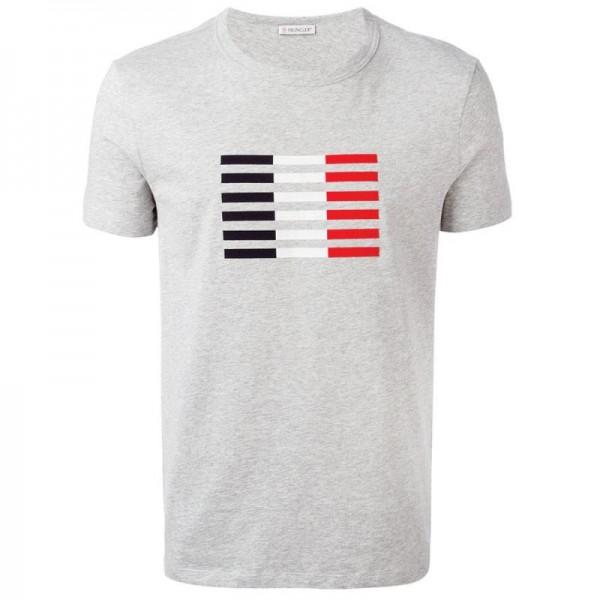 Moncler Logo Tişört Gri Erkek