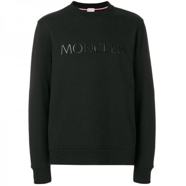 Moncler Plaque Sweatshirt Siyah Erkek